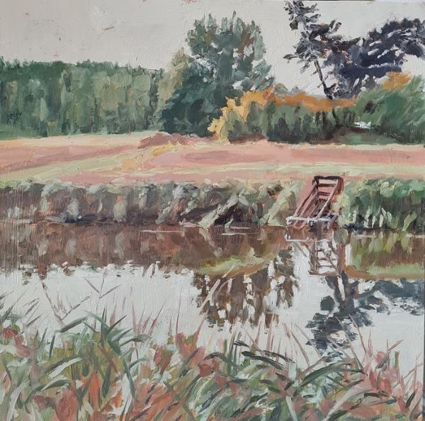 'White Boat and Reeds',  Oil on board,  20cm x 20cm